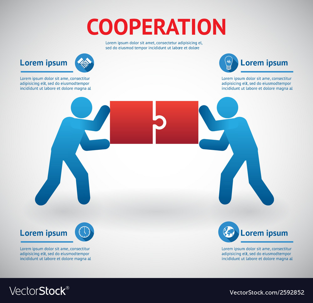 Cooperation and teamwork template vector