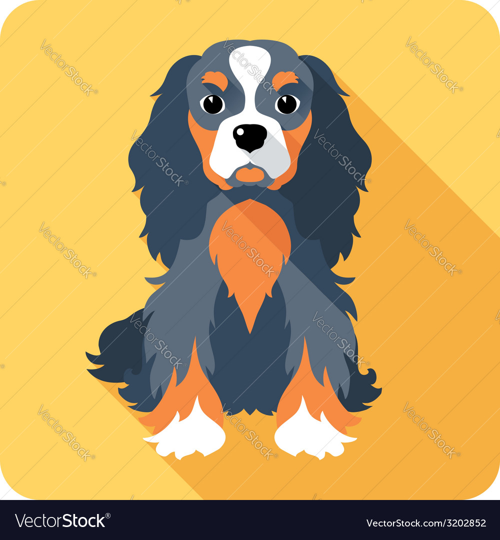 Dog cavalier king charles spaniel sitting icon fla vector | Price: 1 Credit (USD $1)
