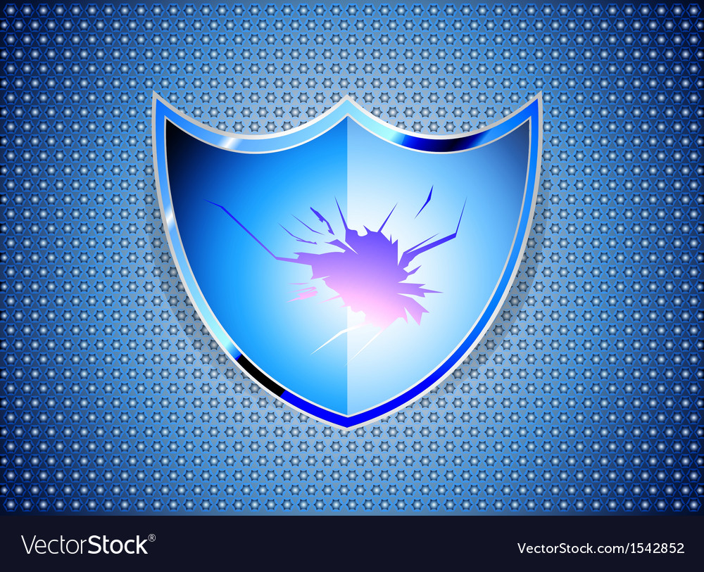 Glossy blue shield on steel background vector | Price: 1 Credit (USD $1)