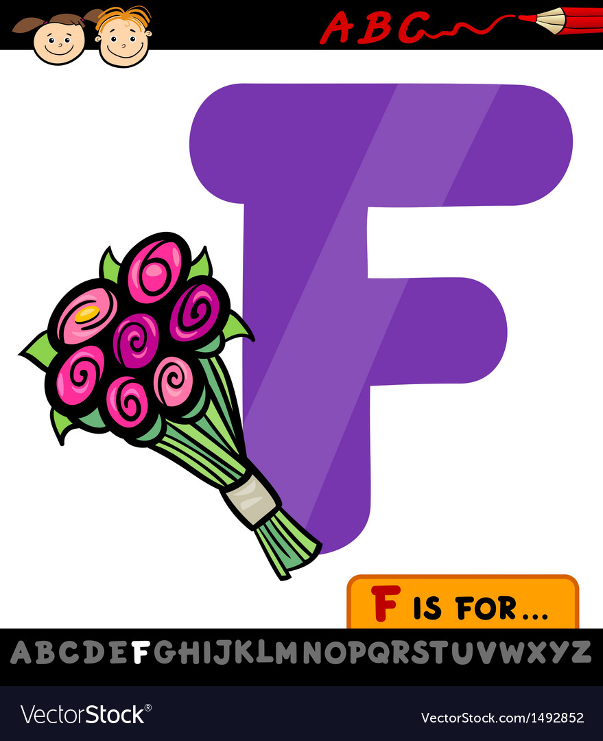 Letter f with flowers cartoon vector | Price: 1 Credit (USD $1)