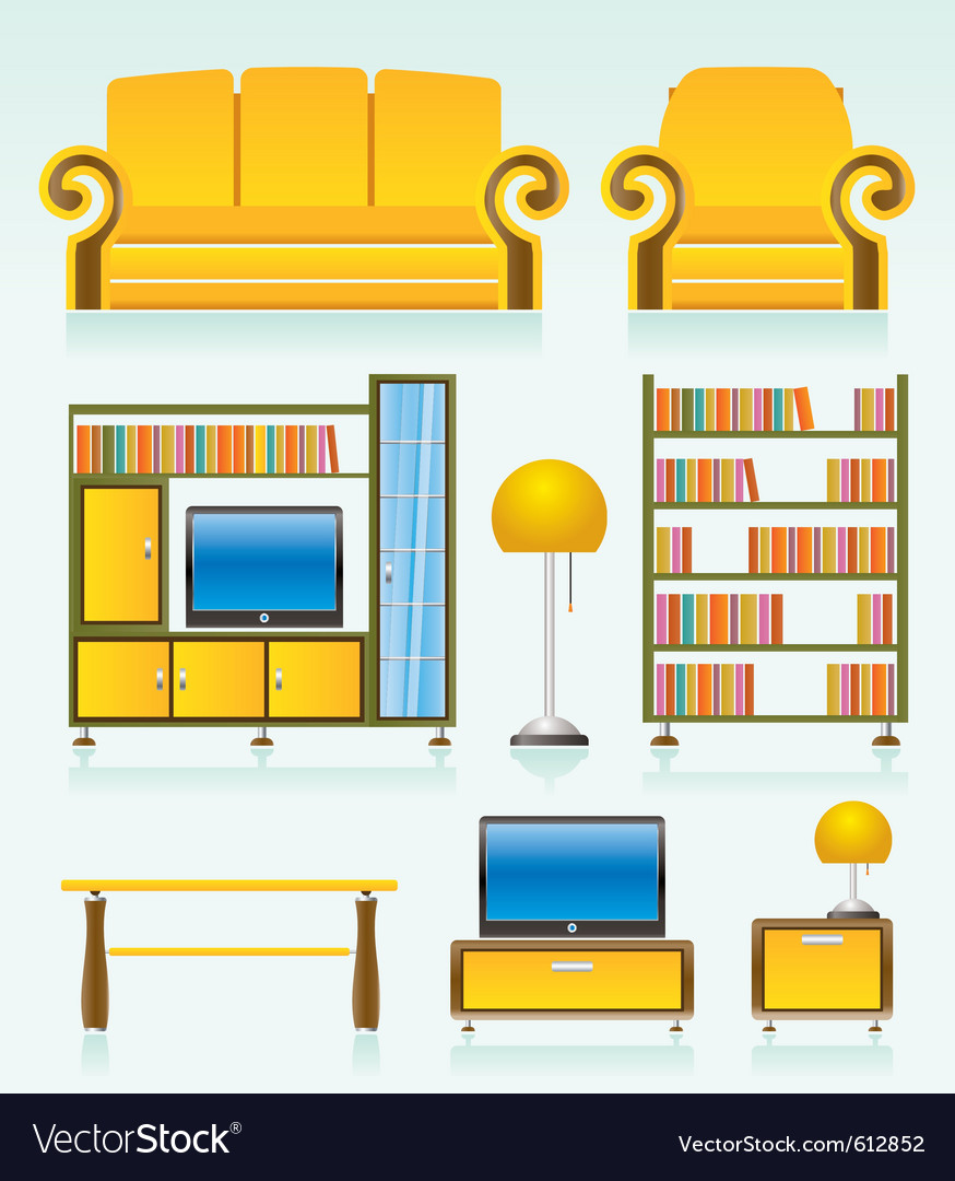 Living room furniture vector | Price: 3 Credit (USD $3)