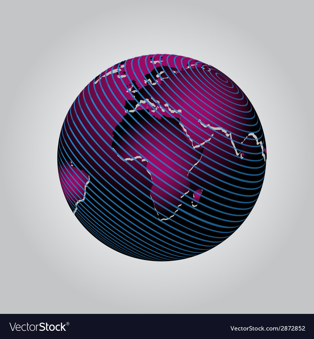 Purple communication globe icon grid design vector | Price: 1 Credit (USD $1)
