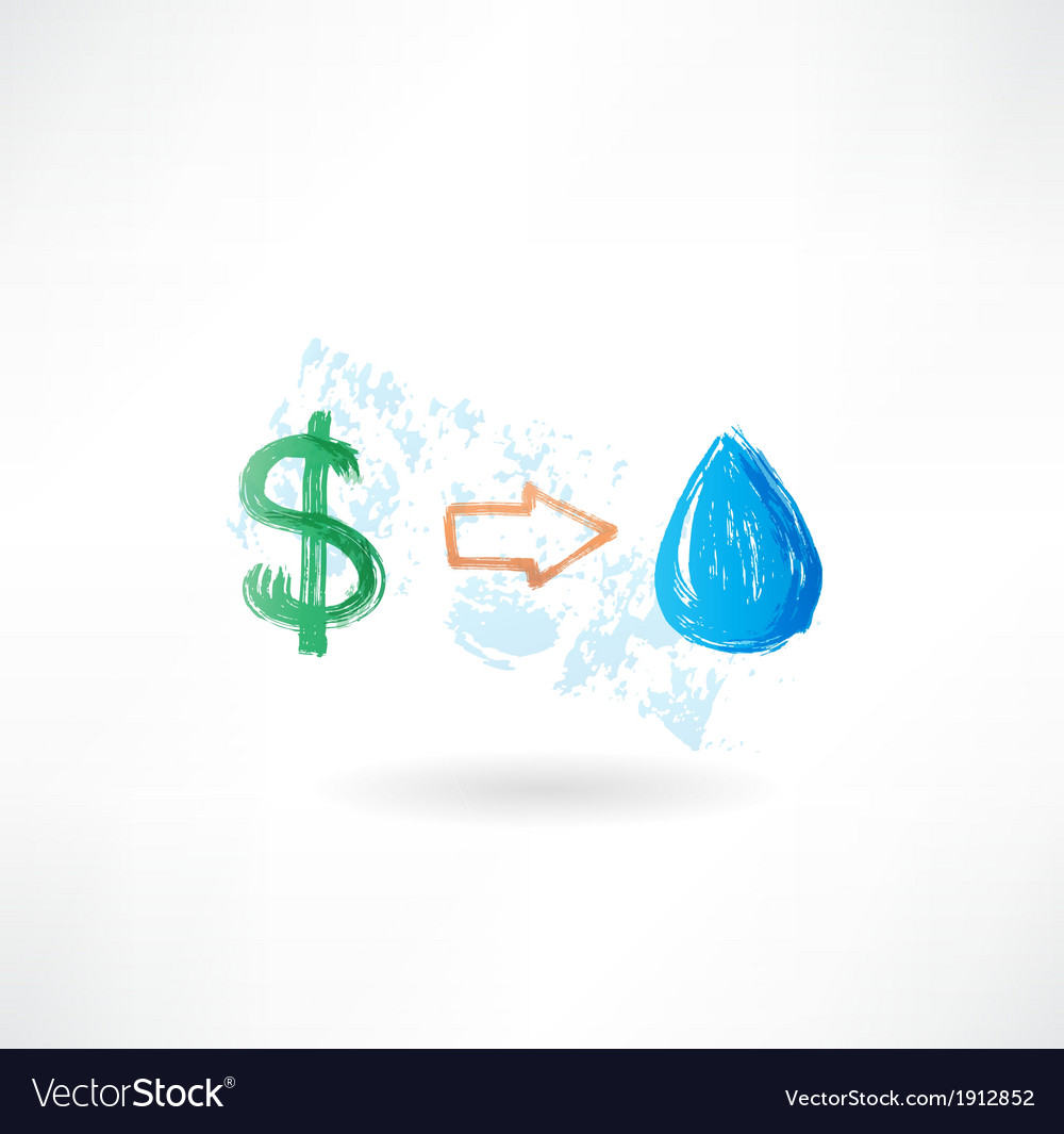 Water dollar grunge icon vector | Price: 1 Credit (USD $1)