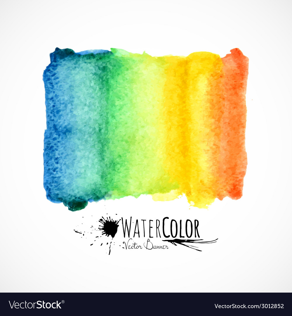 Watercolor bright colors painted isolated banner vector | Price: 1 Credit (USD $1)