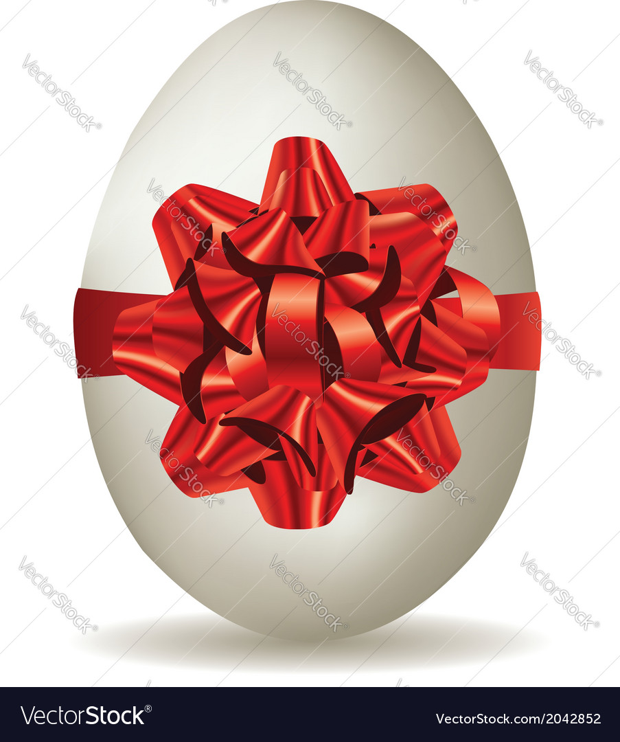 White egg with bow vector | Price: 1 Credit (USD $1)