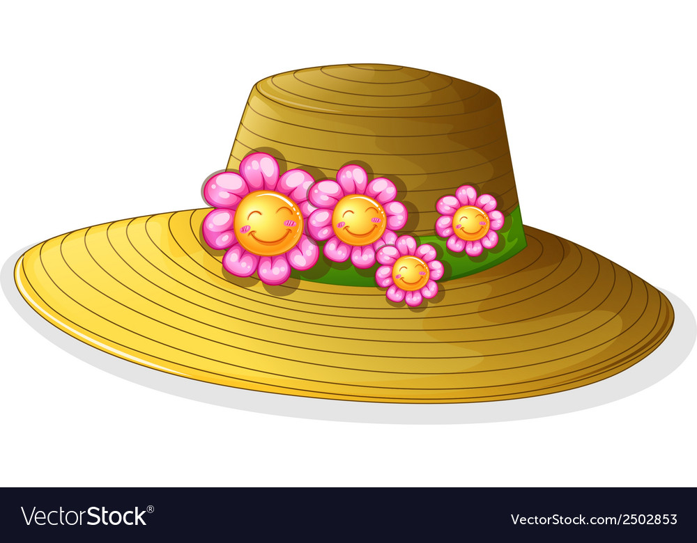 A hat with smiling flowers vector | Price: 1 Credit (USD $1)