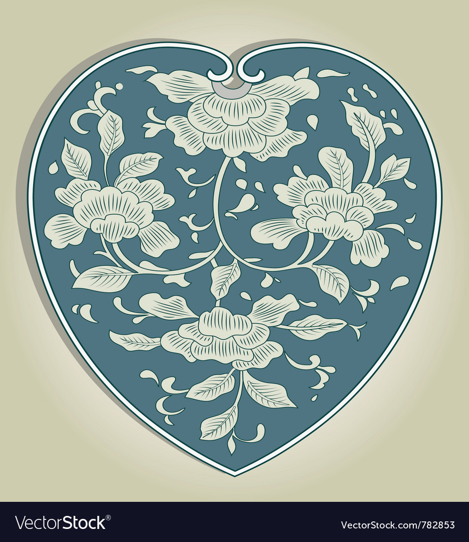 Asian heart ornament vector | Price: 1 Credit (USD $1)