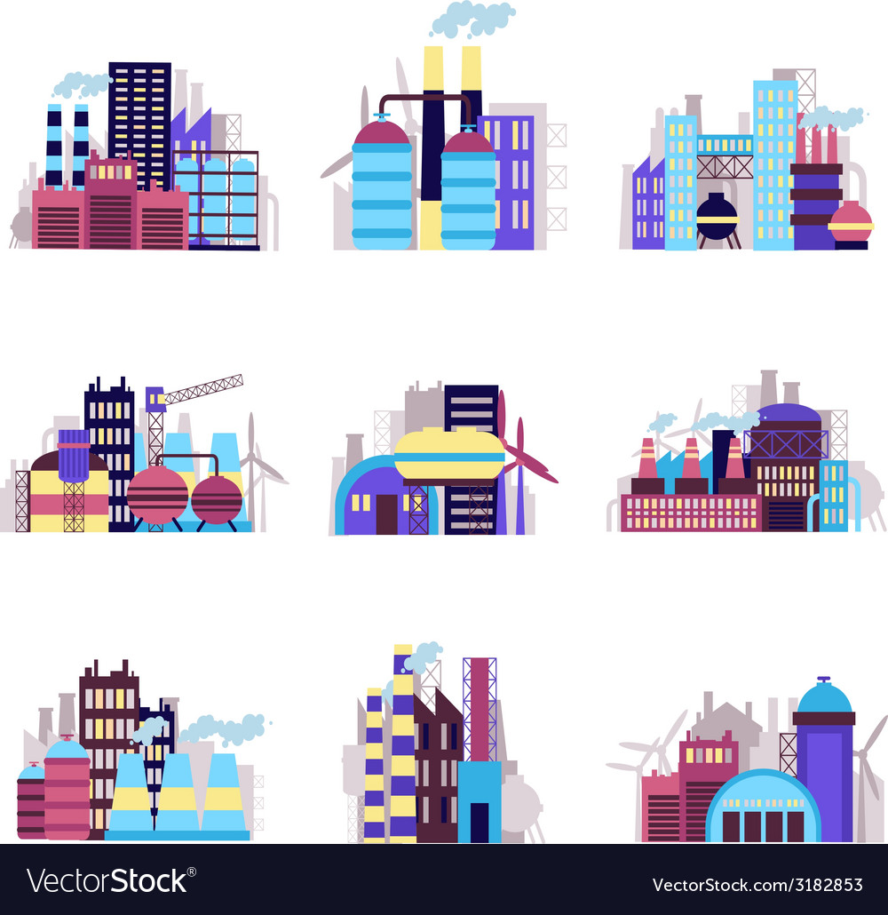 Industrial building icons set vector   Price: 1 Credit (USD $1)