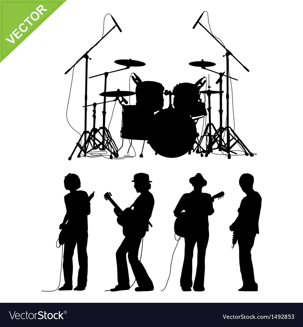 Musicians and drums silhouettes vector | Price: 1 Credit (USD $1)
