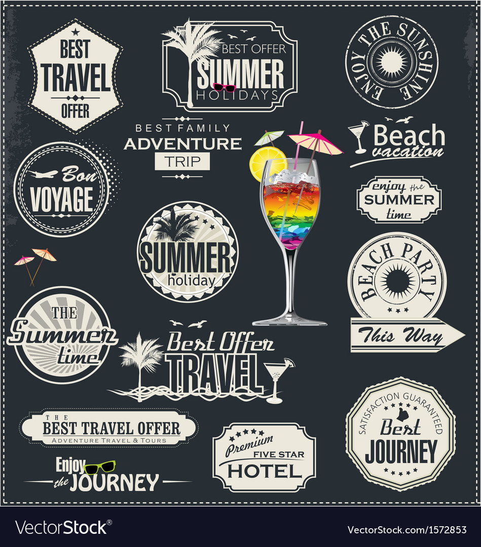 Retro style travel and vacation labels vector | Price: 3 Credit (USD $3)