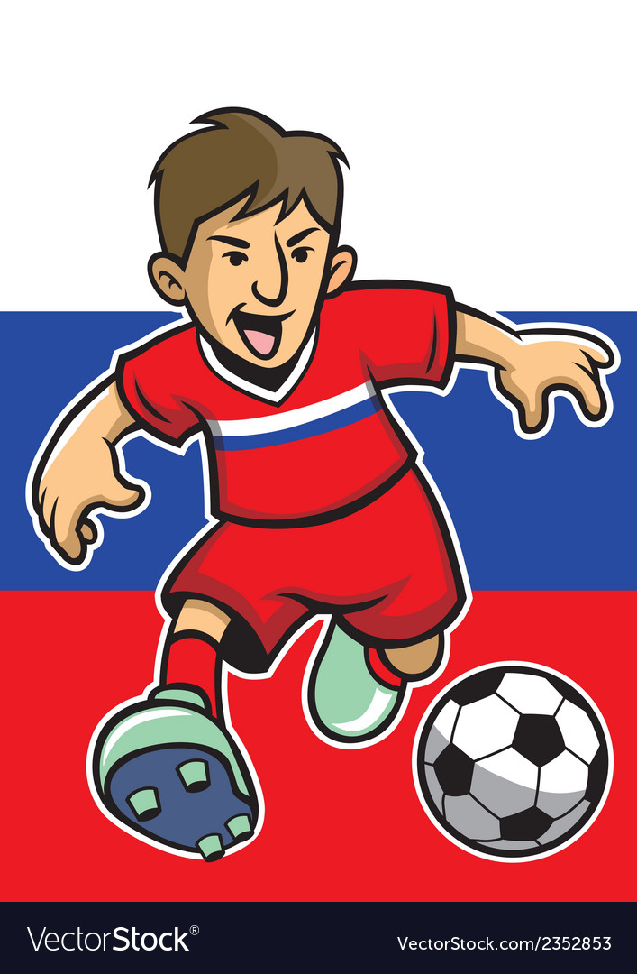 Russian soccer player with flag background vector | Price: 1 Credit (USD $1)
