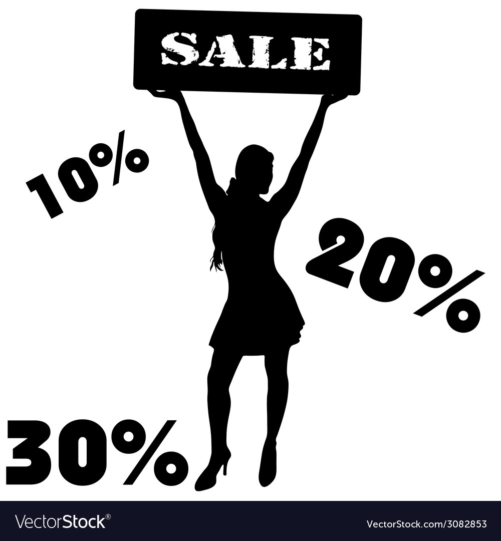 Sale sign with girl vector | Price: 1 Credit (USD $1)