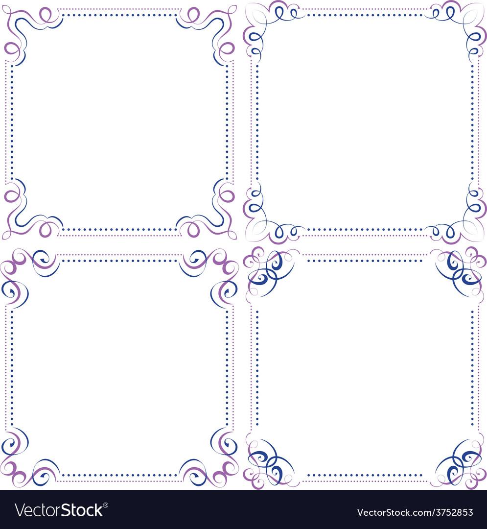 Set multilayer violet blue elegant frame vector | Price: 1 Credit (USD $1)
