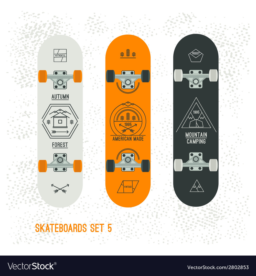 Set of retro vintage badges on a skateboard vector | Price: 1 Credit (USD $1)