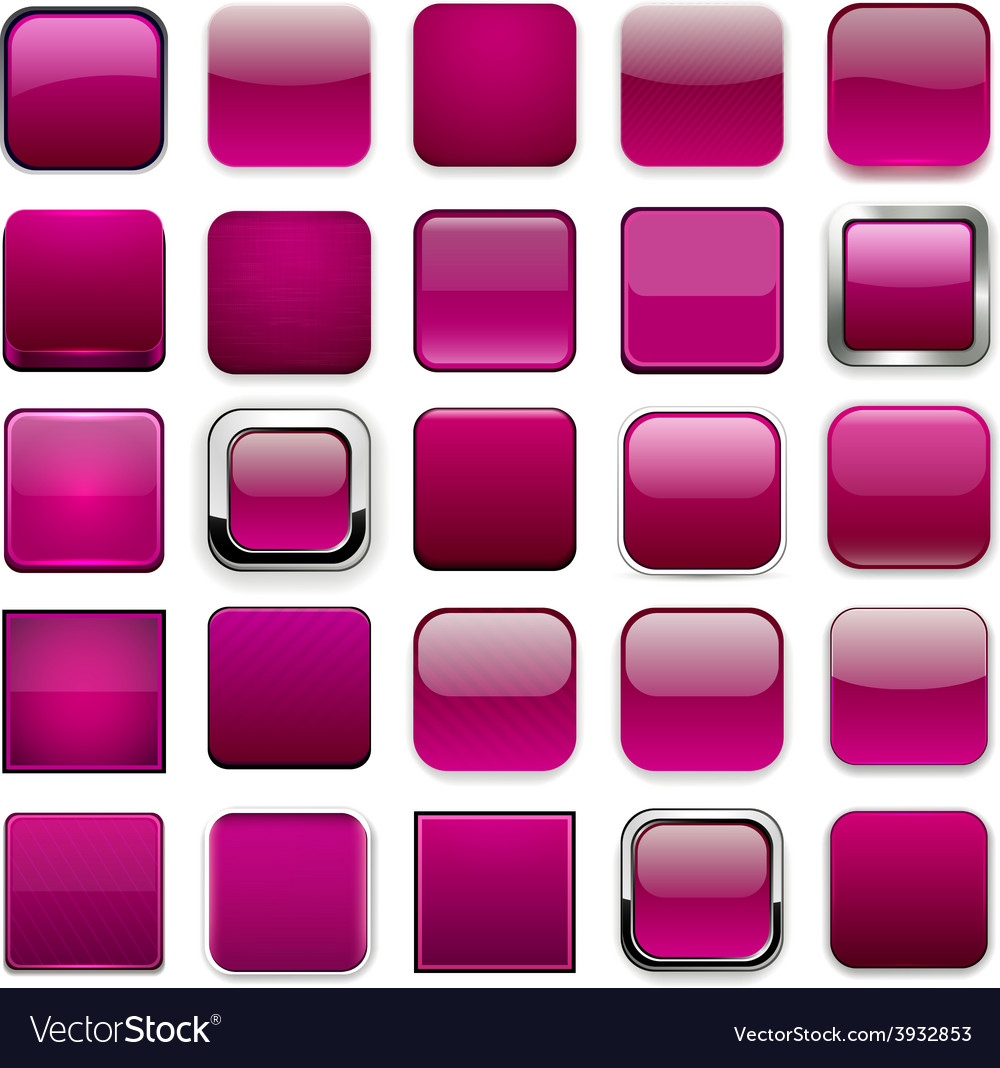Square magenta app icons vector | Price: 1 Credit (USD $1)