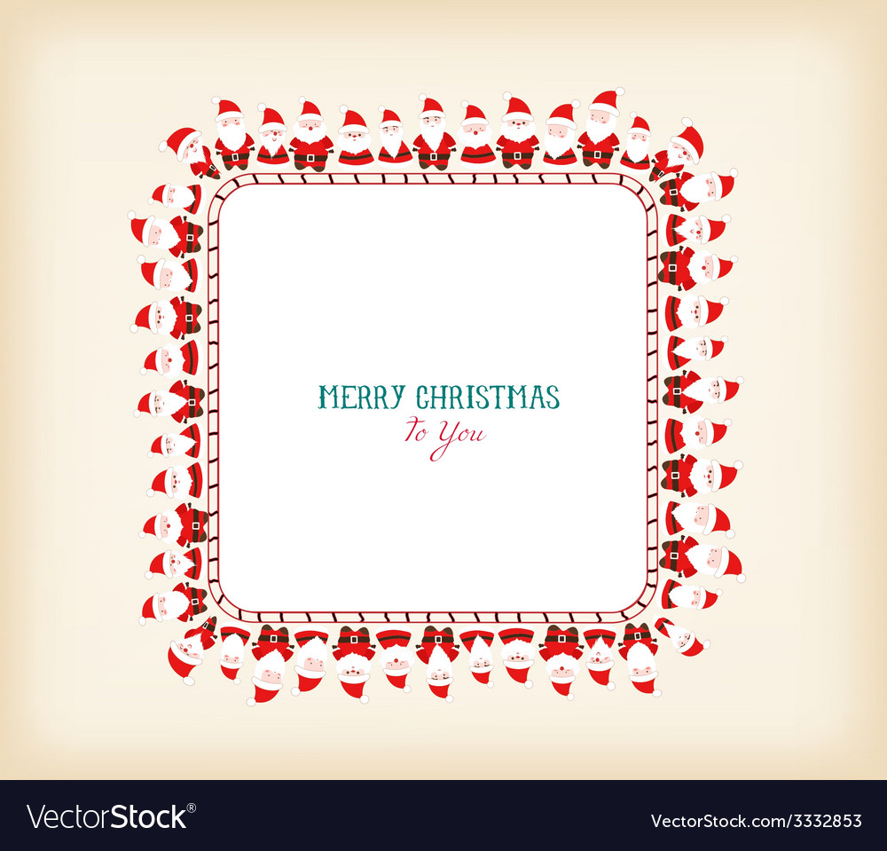 Vintage christmas frame with santa claus vector | Price: 1 Credit (USD $1)