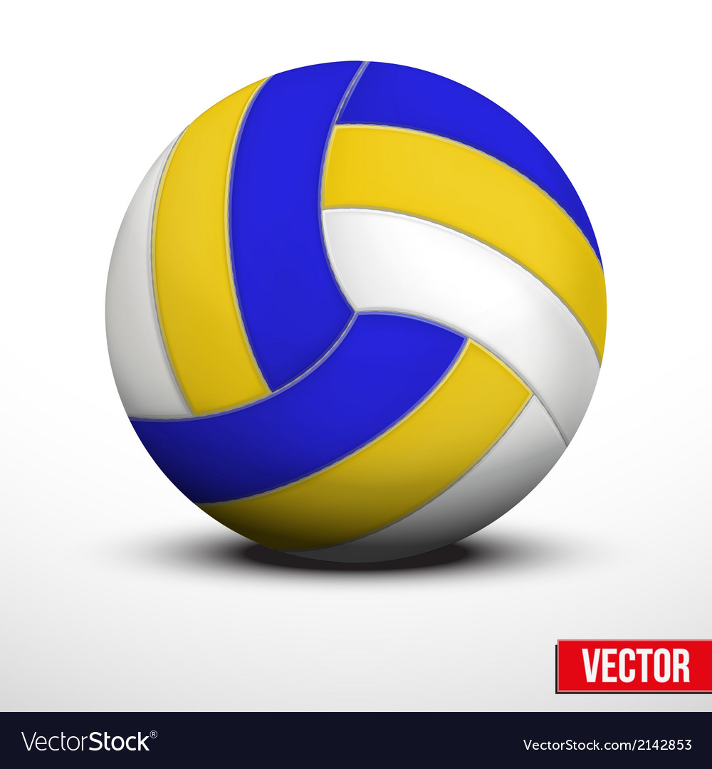 Volleyball in traditional tricolor colors on white vector | Price: 1 Credit (USD $1)