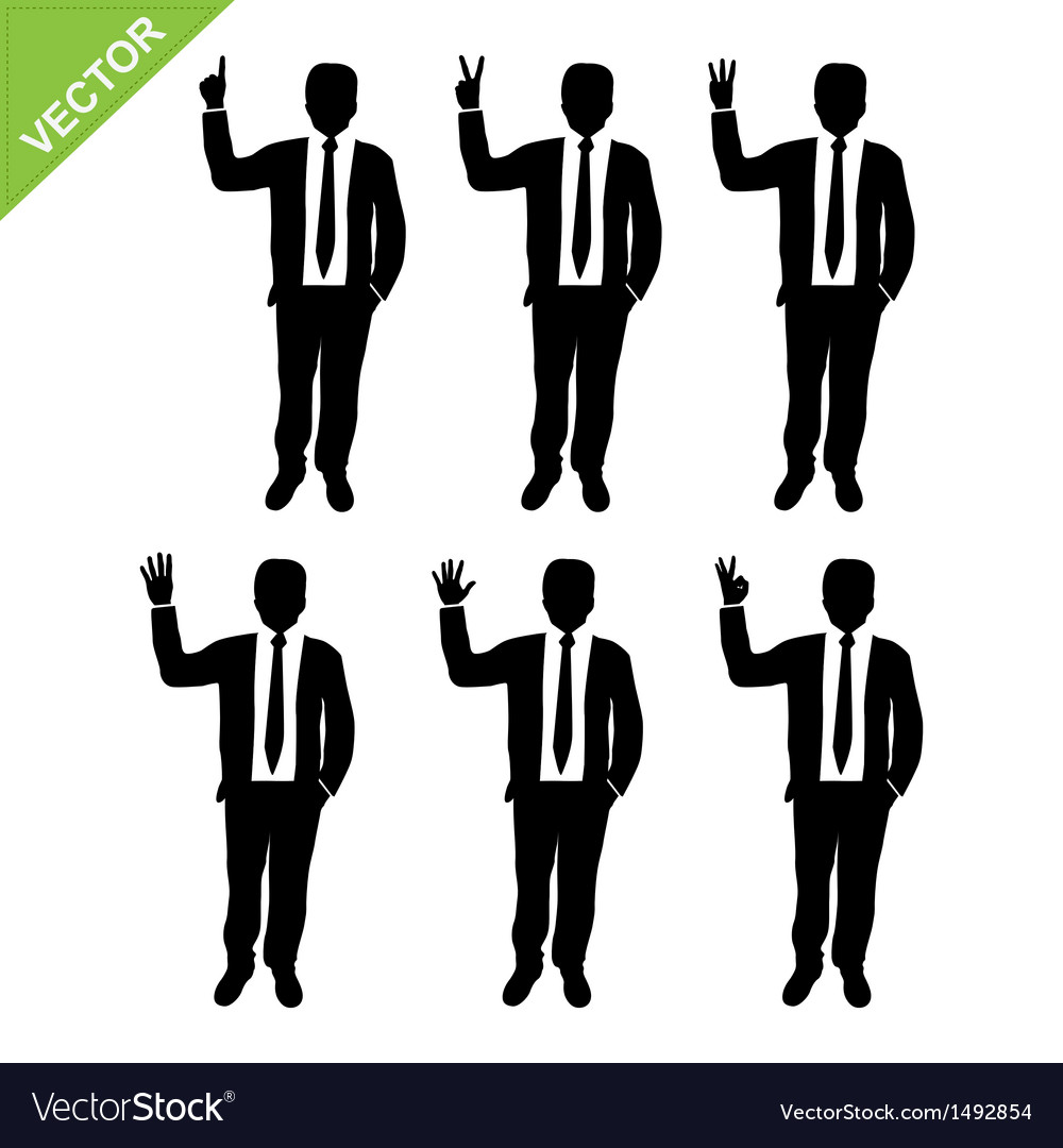Business man silhouettes counting numbers vector | Price: 1 Credit (USD $1)