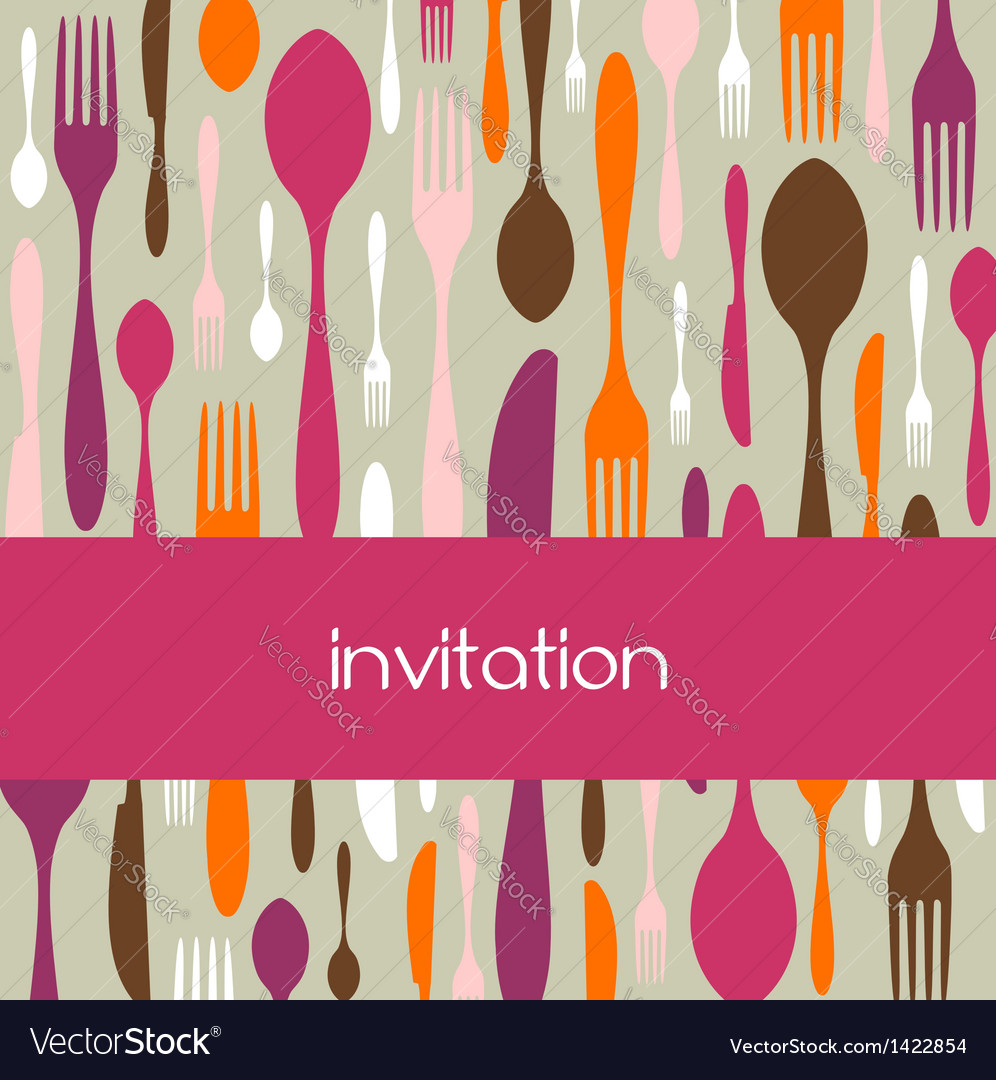 Cutlery pattern invitation vector | Price: 1 Credit (USD $1)