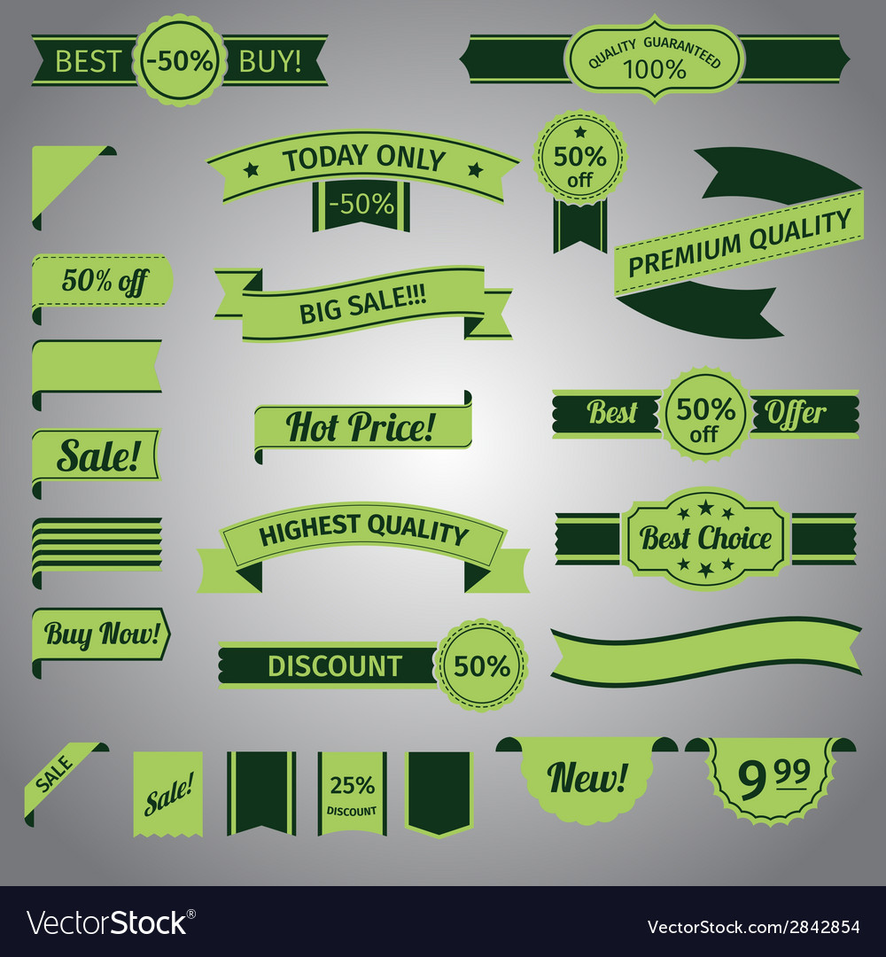 Discount retro ribbon green set vector | Price: 1 Credit (USD $1)
