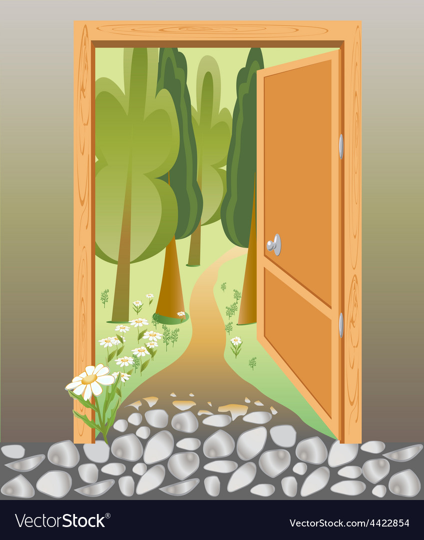 Door of the brick wall on the road in the woods vector | Price: 1 Credit (USD $1)