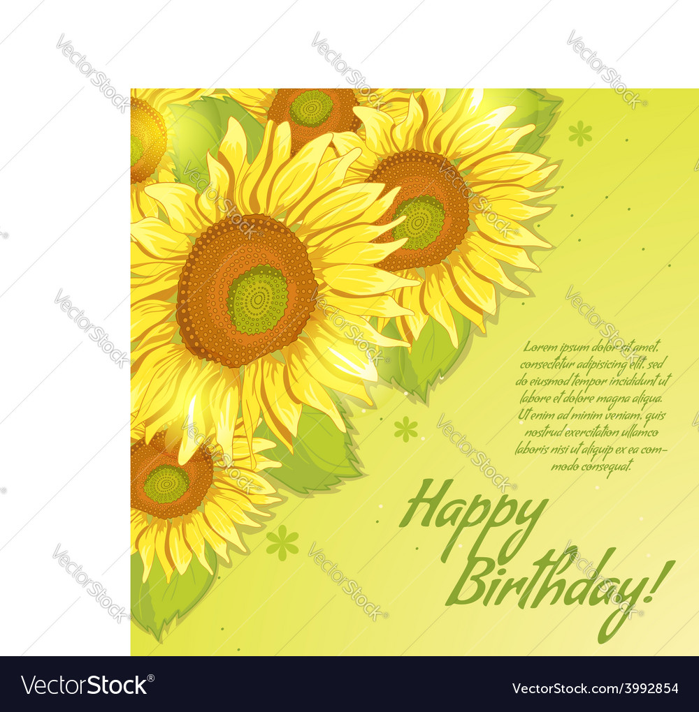 Floral decorative card with sunflowers vector | Price: 1 Credit (USD $1)