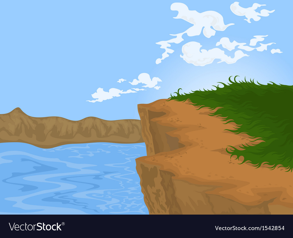 Hill and river nature background vector | Price: 1 Credit (USD $1)