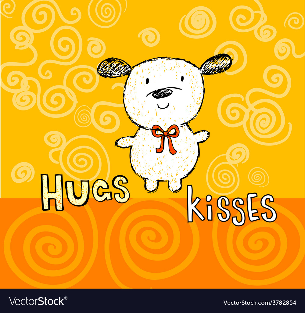 Hugs and kisses greeting card with cute puppy vector | Price: 1 Credit (USD $1)