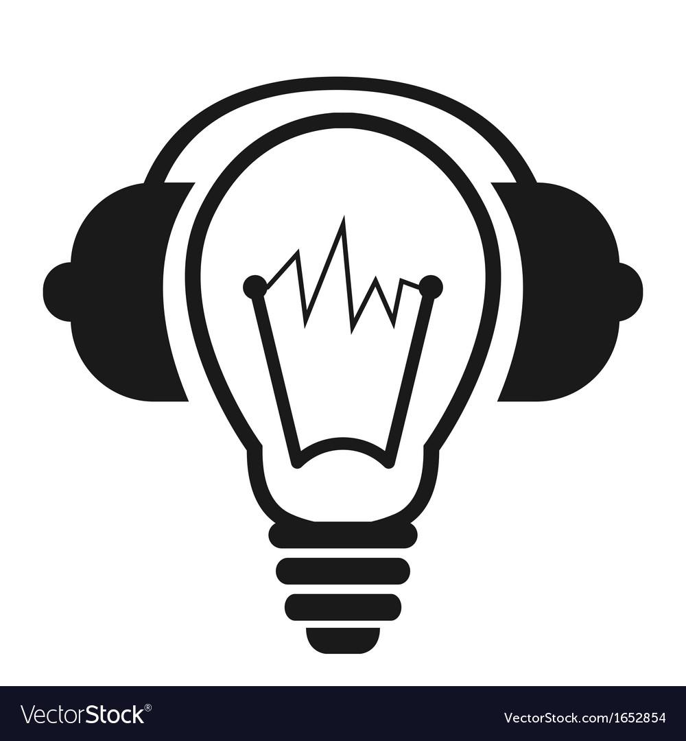 Lightbulb with headphones vector | Price: 1 Credit (USD $1)