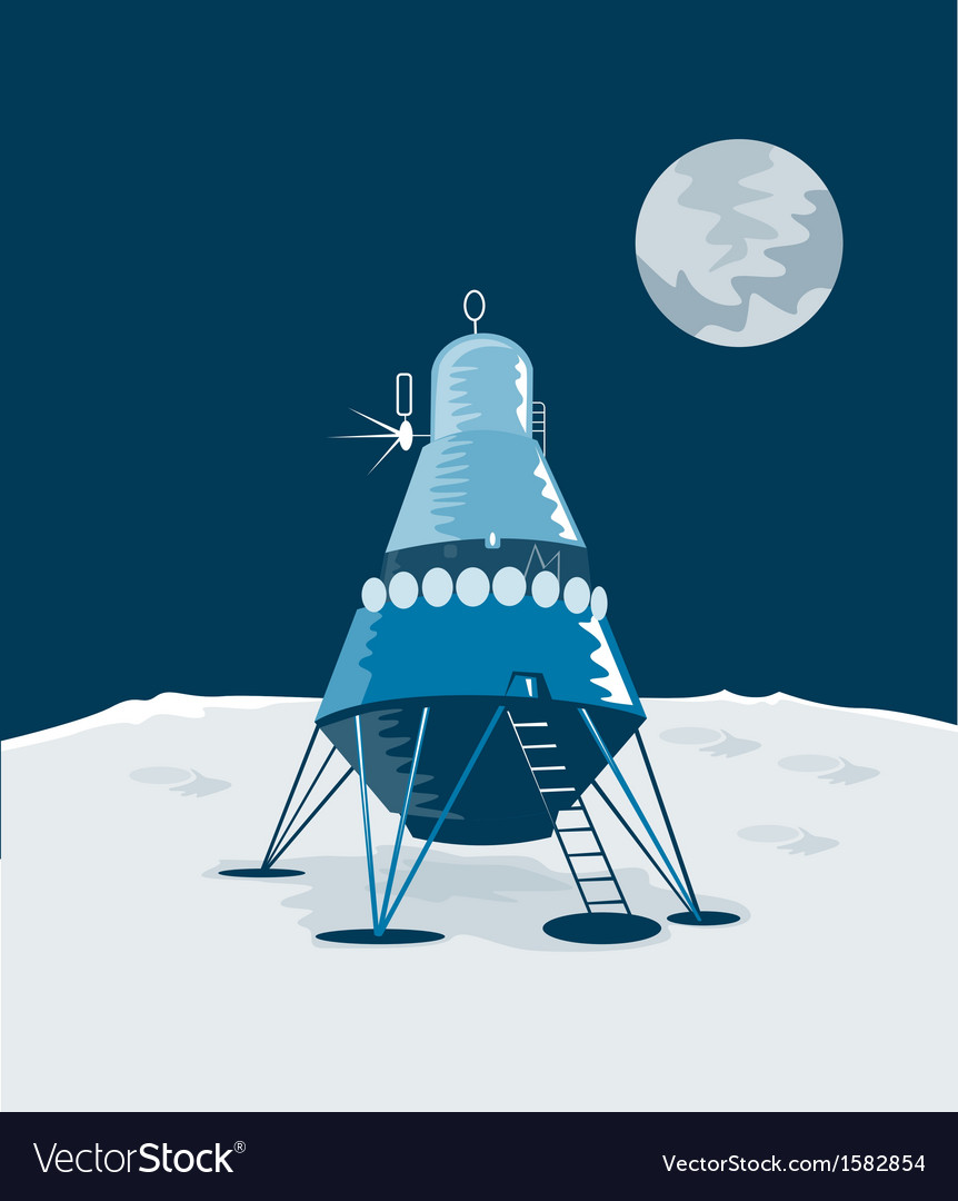 Lunar module on the moon vector | Price: 1 Credit (USD $1)