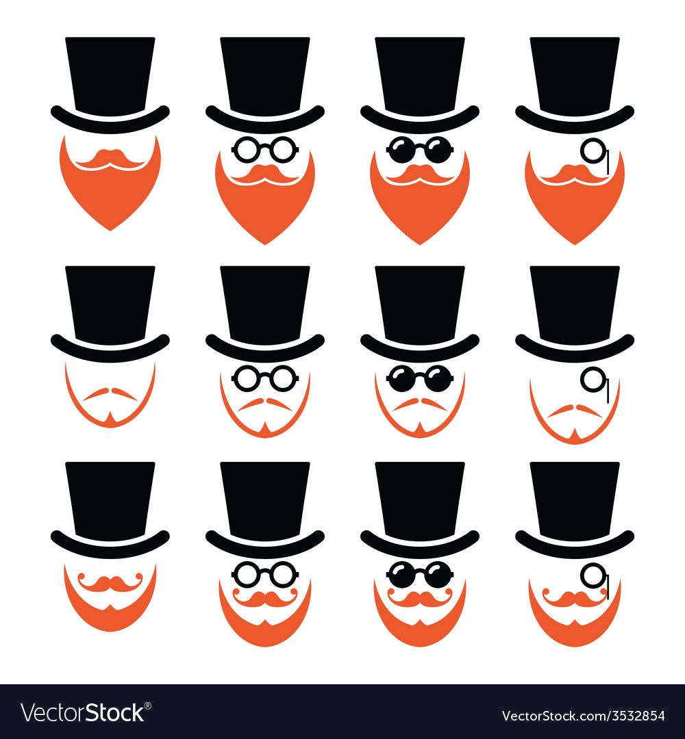 Man in hat with ginger beard and glasses icons set vector | Price: 1 Credit (USD $1)