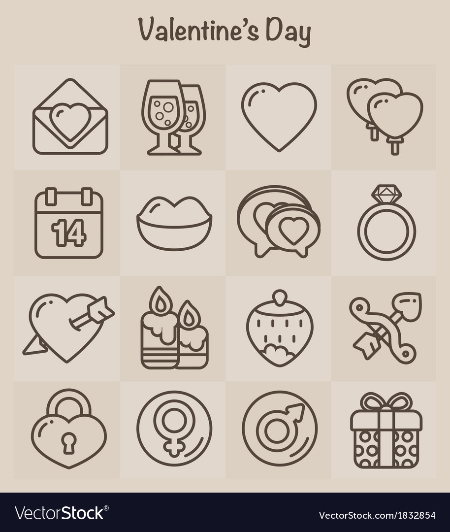 Outline icons set valentines day vector | Price: 1 Credit (USD $1)