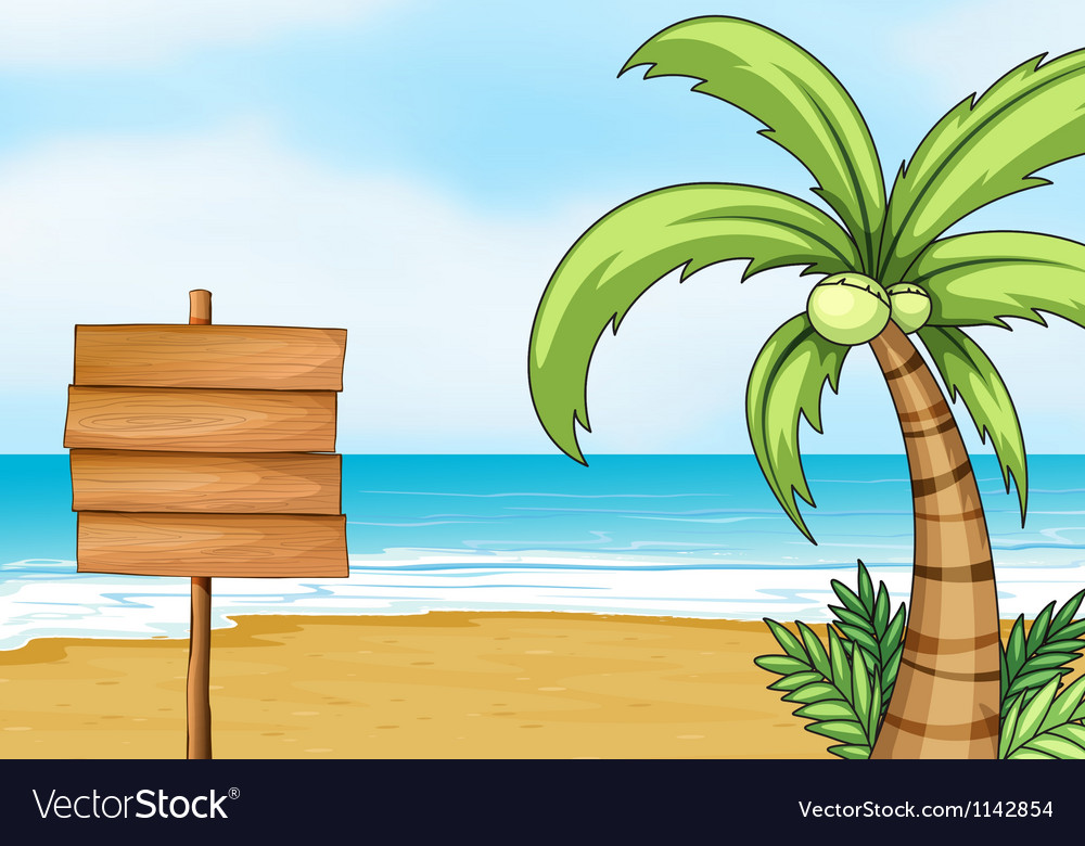 Signpost and coconut tree vector | Price: 1 Credit (USD $1)