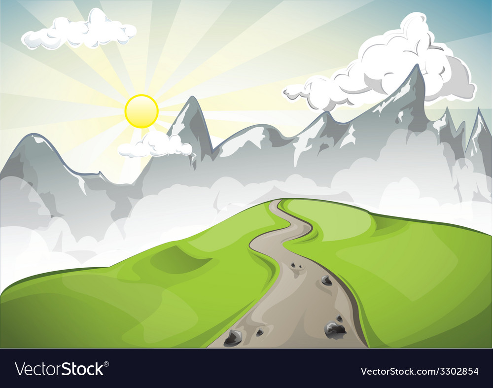 Sunset among the high mountains peaks vector | Price: 1 Credit (USD $1)