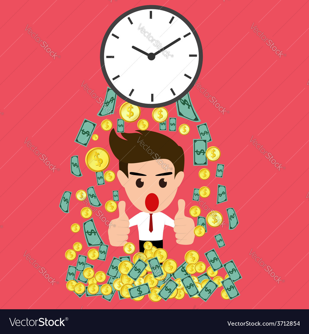 Time is money whit happy businessman vector | Price: 1 Credit (USD $1)