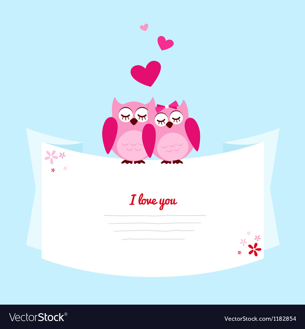 Two pink owl in love vector | Price: 1 Credit (USD $1)