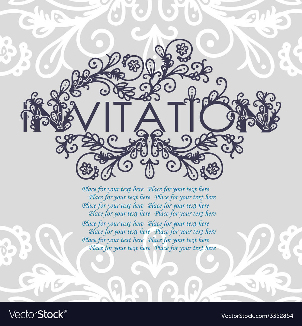 Vintage invitation card with lace ornament vector | Price: 1 Credit (USD $1)