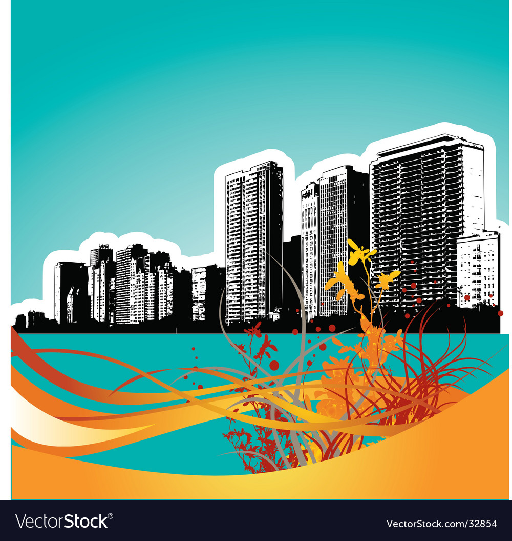 Wavy floral city vector | Price: 1 Credit (USD $1)