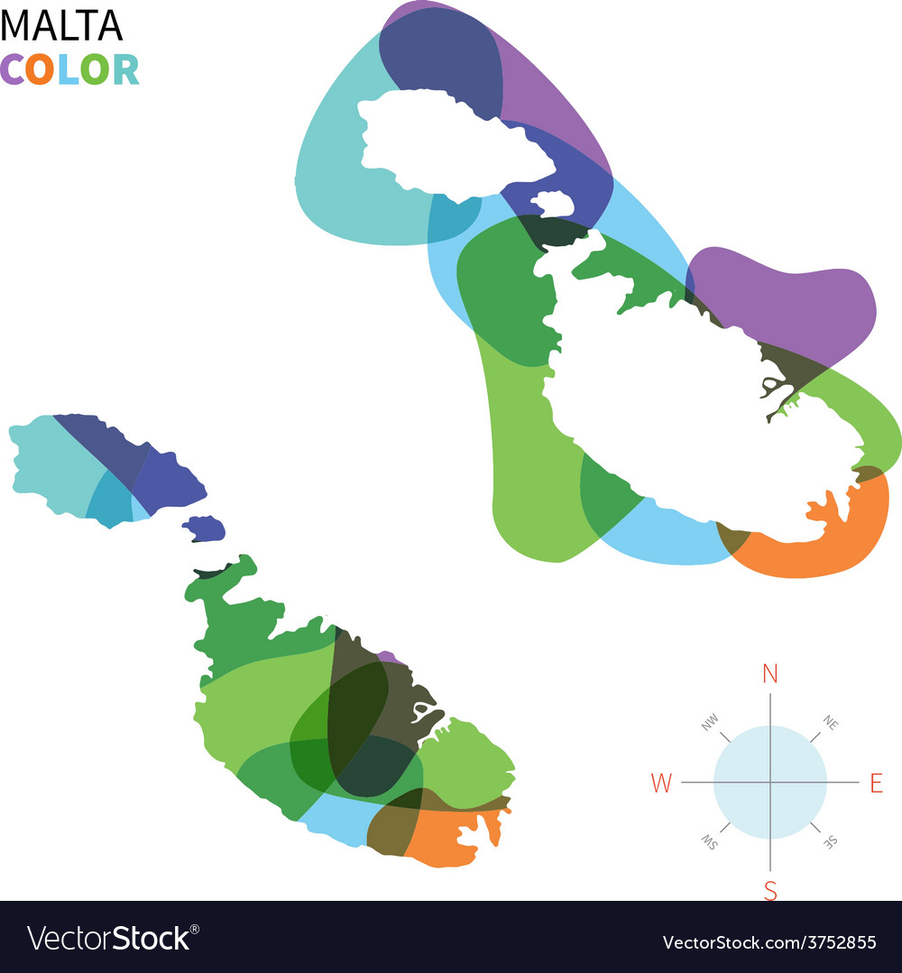 Abstract color map of malta vector | Price: 1 Credit (USD $1)