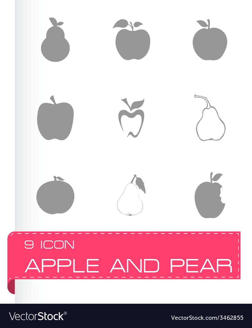 Apple and pear icons set vector | Price: 1 Credit (USD $1)