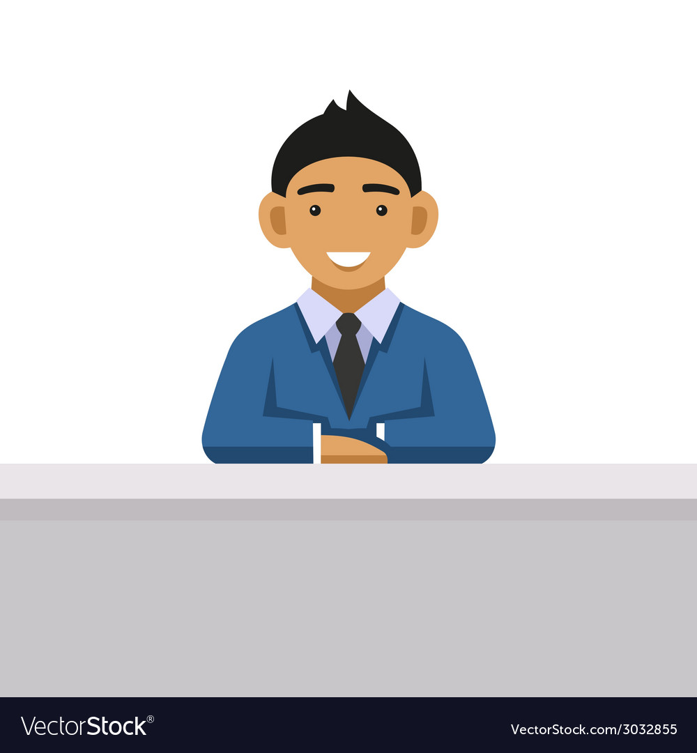 Business man on a desk at the office vector | Price: 1 Credit (USD $1)