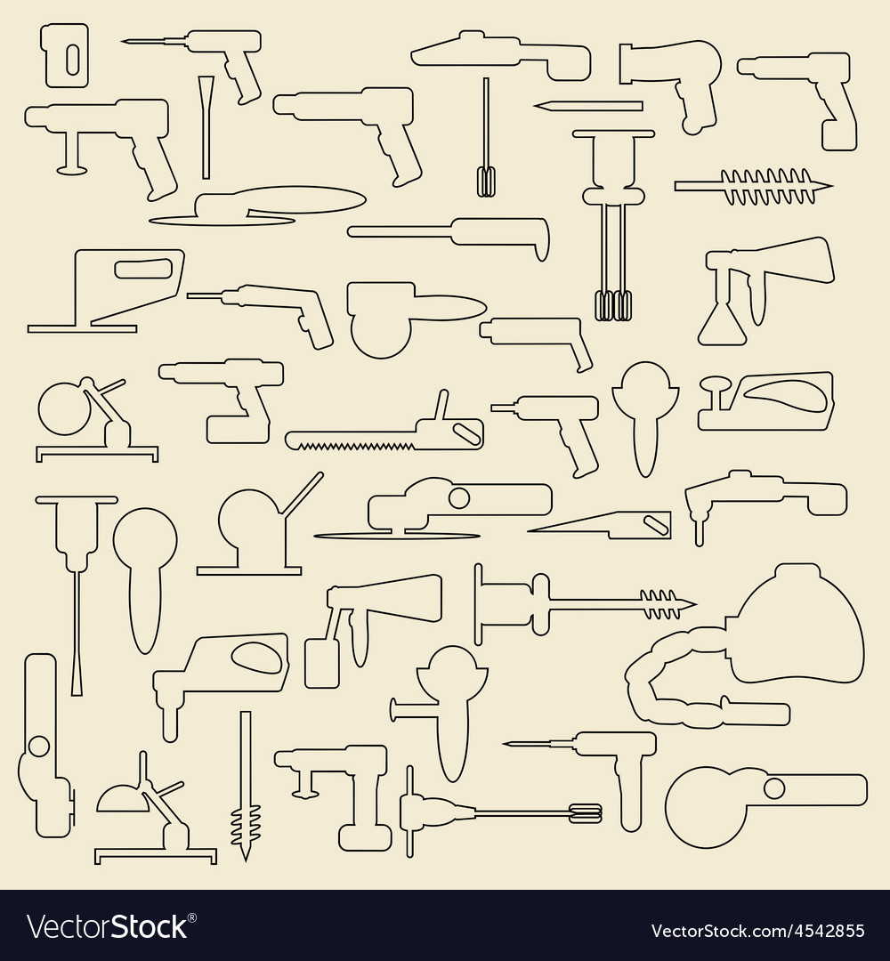 Electric construction tools linear icons vector | Price: 1 Credit (USD $1)