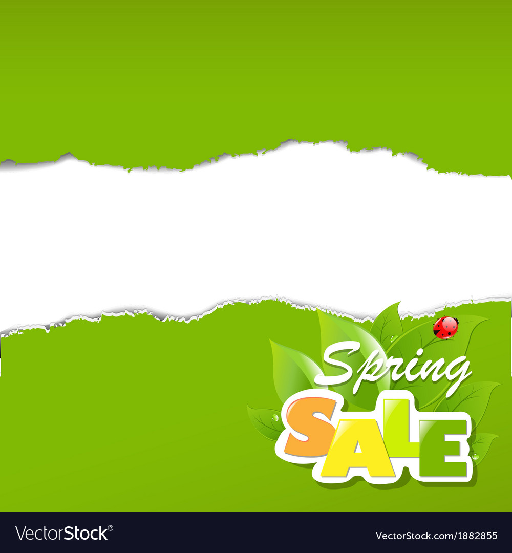 Green torn paper borders sale poster vector | Price: 1 Credit (USD $1)