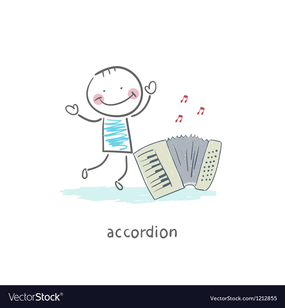 Man and accordion vector | Price: 1 Credit (USD $1)