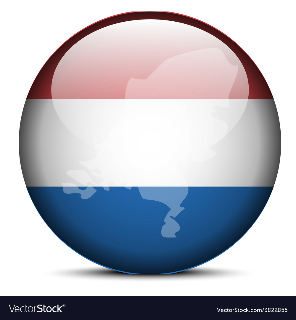 Map on flag button of kingdom of the netherlands vector | Price: 1 Credit (USD $1)