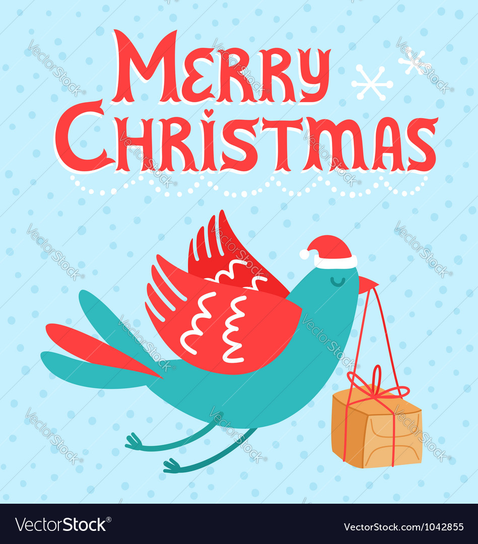 Merry christmas bird vector | Price: 1 Credit (USD $1)