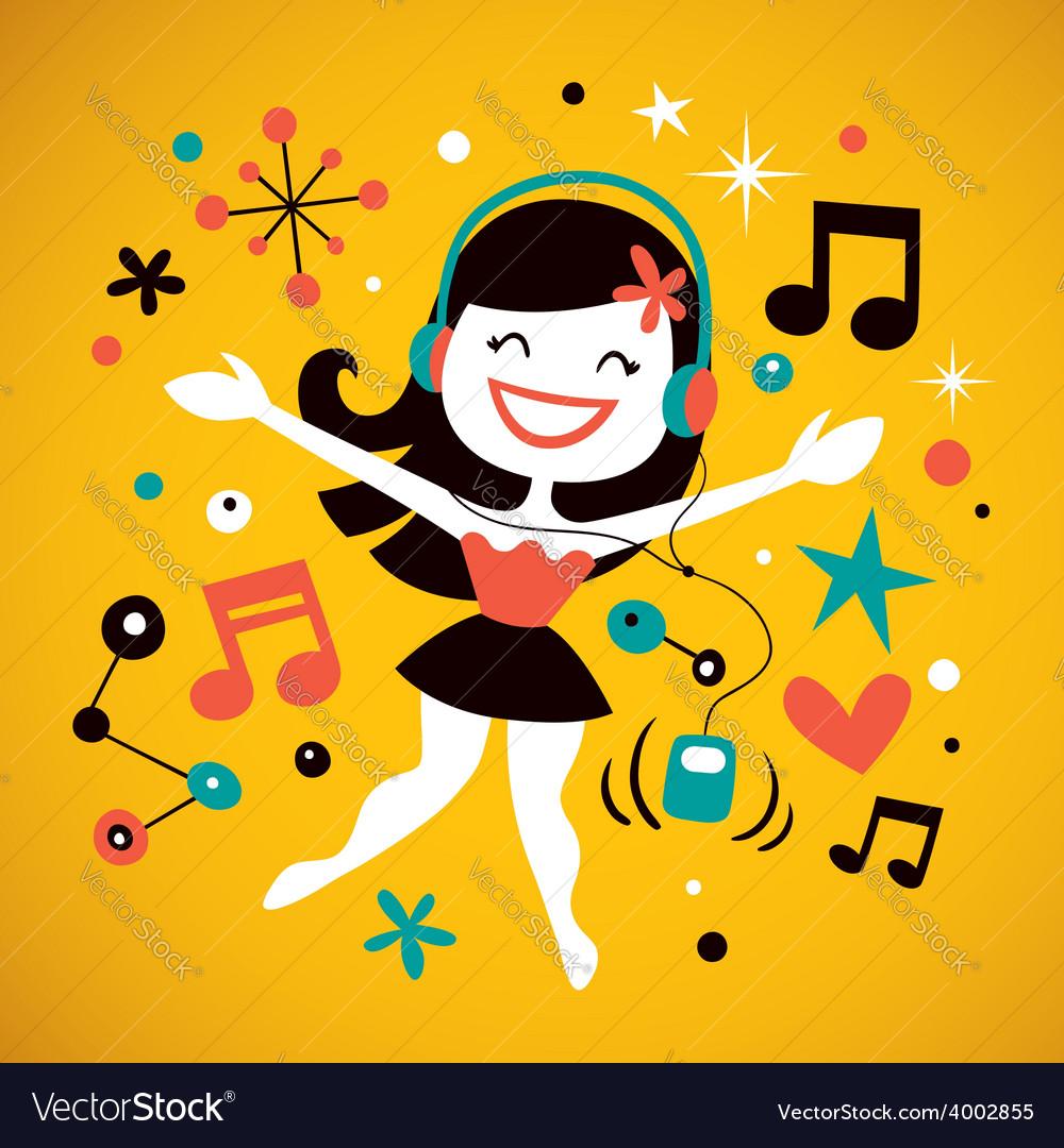 Pretty girl listening music vector | Price: 1 Credit (USD $1)