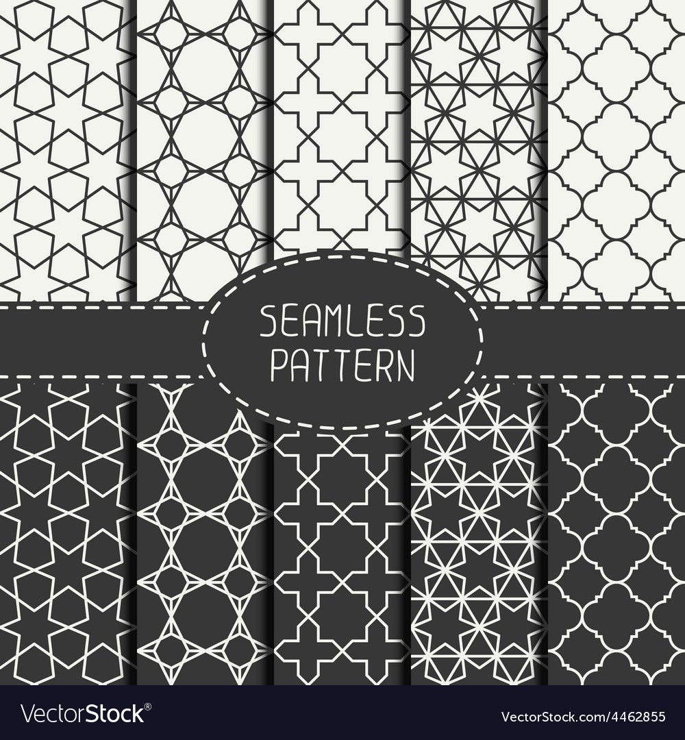 Set of geometric monochrome lattice seamless vector | Price: 1 Credit (USD $1)