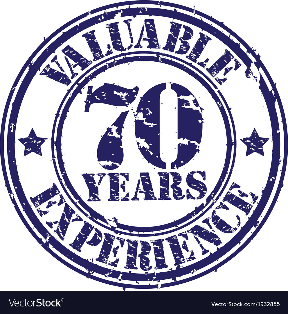 Valuable 70 years of experience rubber stamp vect vector | Price: 1 Credit (USD $1)
