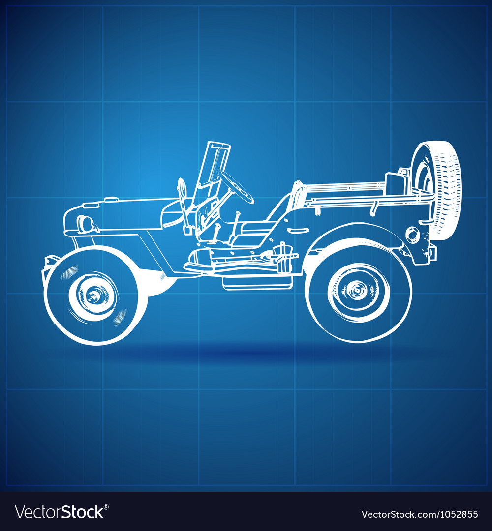 Vintage blueprint of american jeep vector | Price: 1 Credit (USD $1)